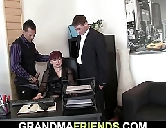 Old granny in stockings sucks and rides cocks