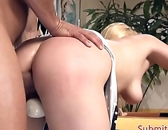 Bigtits sub choked and pussyfucked