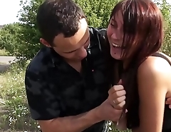 Busty Youngster Uses Her Tits to Please Cock Outdoors