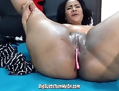 Busty Ebony Latina Babe Showing Off Her Vibrator