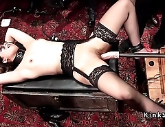 Female slaves suffer bondage at orgy party