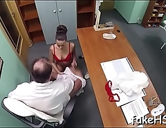 Hard dick penetrates doctor'_s pussy