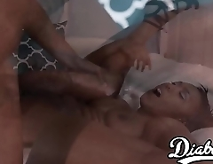 Cute ebony Cher Adele has a taste for bbc and hot white cum
