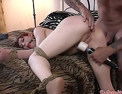 Buttfucked sub choked and tied up