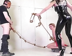 Tug of Whore: yanked back and forth for blowjobs and punishment (Olivia Kasady)