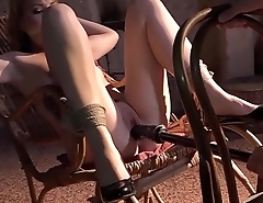 Submissive blonde babe hogtied vibed and machine-fucked