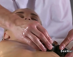 Blonde rubs pussy during sex with masseur