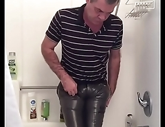 masturbating in the shower in my tight shiny O&rsquo_Neill brown nylon pants