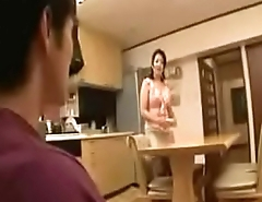 Japanese stepmom bathing with stepson