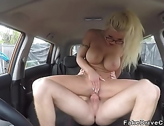 Instructors bff bangs big tits blonde in car