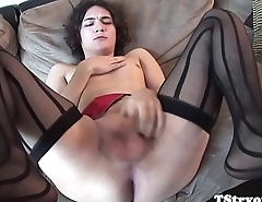 Casting tranny tugs her cock for the camera