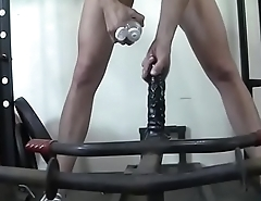 Female muscle Charlotte is in the gym getting fingers and toys