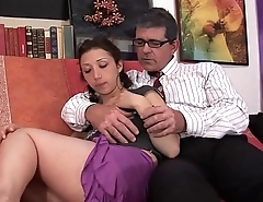 A thoughtful father takes care of her sexy daughter