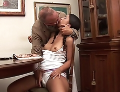 Old and shameless father hitting on her young daughter