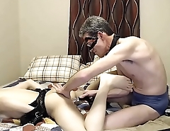Mature Guy Dildoing a Teen Shemale In the Ass